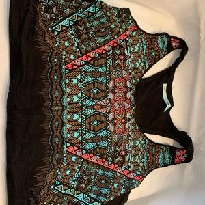 Maurices Black Tank with Aztec Design